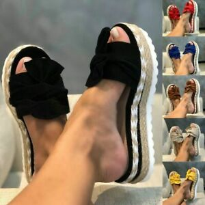 Damen Sandalen Pantoletten Korkoptik Sommer Schlappen Hausschuhe Schuhe