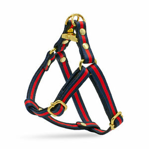 Navy Blue Red Striped Designer Dog Harness Leash Lead Set X-Small Medium Breeds