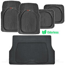 MotorTrend Deep Dish Rubber Floor Mats & Cargo Set - Black - Heavy Duty BPA Free