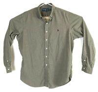 Men's Ralph Lauren Classic Fit Green Checker Print Button Up Dress Shirt Sz XL