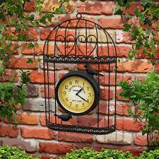 Parkland Garden Black Bird Cage Wall Clock Outdoors Time Decoration