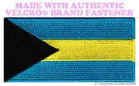 BAHAMAS ISLAND FLAG PATCH CARIBBEAN EMBLEM EMBROIDERED w/ VELCRO® Brand Fastener