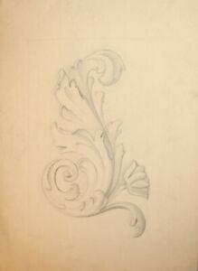 Antique pencil painting Art Nouveau architectural design