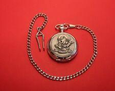Alice in Wonderland Mad Hatter Pocket Watch Pewter Front Albert Chain Dad Gift