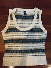 GAP Women's Size Small Lambswool Fair Isle Pullover Vest Sweater Green Gray Blue