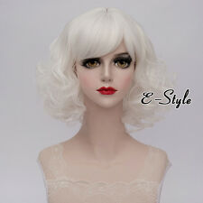 White Harajuku 35CM Curly Short Lolita Fashion Heat Resistant Cosplay Party Wig