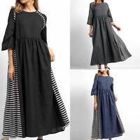 VONDA AU Women Oversized Baggy Striped Shirt Dress Long Maxi Dress Kaftan Casual