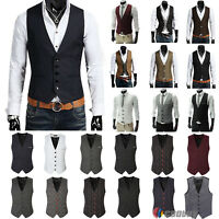 New Men's Formal Business Casual Dress Vest Suit Tuxedo Slim Fit Waistcoat Coat
