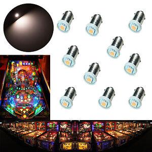 10x #44 #47 #1847 BA9S 1SMD LED Warm White Pinball Machine Light Bulb 6.3V USA
