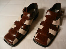 Sio Mens Leather Dress Brown sandals Buckle Strap 10.5 NEW Shoes Formal Fabric