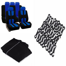 Styling Breathable Comfort  Black+ Blue 5-Seat Car Seat Cover Cushion Protector