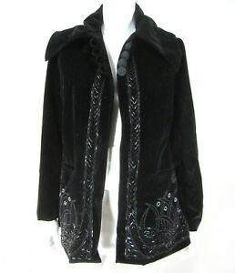 April Cornell for Cornell Trading Black Jacket S Small Vintage Velvet Beads