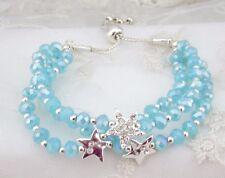 Blue Silver Bead Bracelet Stars Rhinestone Drawstring Fashion Jewelry NEW