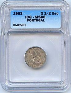 High Grade 1963 Portugal 2 1/2 Escudo. ICG Graded MS 66. Lot #2249