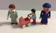 Playmobil Vintage Victorian Mother Women Figures & Girl With Doll Carriage 1987