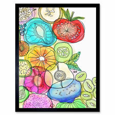 """Bright Fruits Vegetables Watercolour Painting Wall Art Print Framed 12x16"""""""
