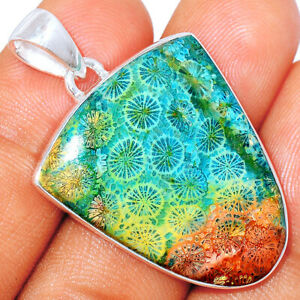 Rare Blue Indonesian Fossil Coral 925 Sterling Silver Pendant Jewelry BP77943