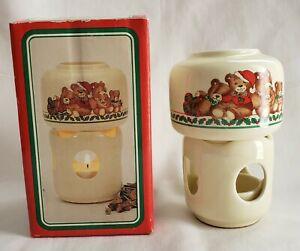 "Retro Vintage Christmas Teddy Bears 5"" Ceramic Votive Scenter Potpourri Press"