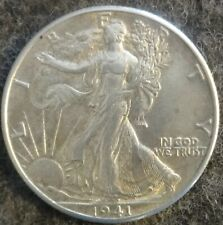 1941 US Philadelphia Mint Silver Liberty Walking Half - World War 2 Era - AU/UNC