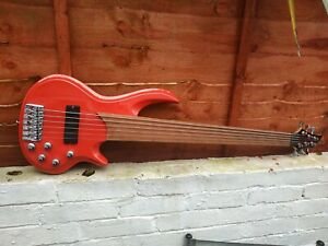 6 String Fretless Bass Guitar Red Sparkle Finish