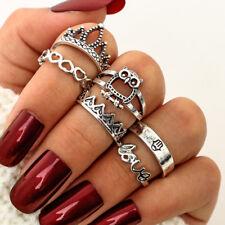 6PCS Fashion Women Retro Owl Midi Finger Knuckle Rings Boho Jewelry Set Gift