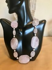 "17 1/2"" Vintage Genuine Rose Quartz Gemstone Sterling Silver Faux Pearl Necklace"