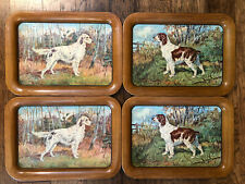 "Set Of 4 Vintage LARGE Hunting Dogs Metal Serving TV Lap Tray 17 1/2"" x 12 5/8"""