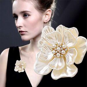 Elegant Gold Flower Pearl Rhinestone Crystal Wedding Bridal Bouquet Brooch Pin