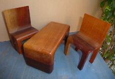 "Vintg Miniature Dollhouse Salesman~Danish Modern~Solid wood teak~6""Chairs &Table"