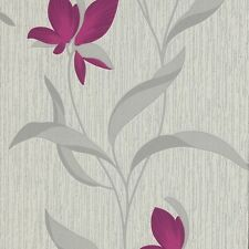 Purple Flower Silver Leaf Glitter Fleur Floral Textured Wallpaper 9730-09