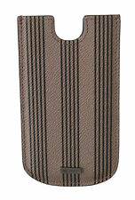 DOLCE & GABBANA Phone Case Cover Beige Striped Leather Pouch Universal RRP $200