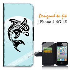 Apple iPhone 4 4G 4S Wallet Flip Phone Case Cover dolphin Art Y00783