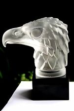 "BOHEMIAN ART DECO  GLASS CAR MASCOT  - "" EAGLE HEAD "" ON BLACK PLINTH"