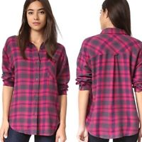 Rails Sz S Jackson Flannel Button Down Shirt Pink Red Up Navy Blue Womens