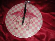 NEW ROUND PINK FLAMINGO CHECKERED ACRYLIC WALL CLOCK CHRISTMAS GIFT