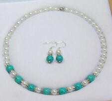 8mm White Akoya Shell Pearl &10mm Turkey Turquoise Necklace Earrings Set AAA