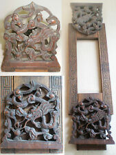 Antique Chinese HAND CARVED WOOD Expanding Folding BOOKENDS Imperial DRAGONS