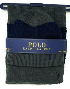 Polo Ralph Lauren men's Charcoal knit winter Hat & Scarf Set retail $99