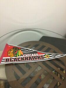 Vintage Chicago Blackhawks NHL Full Size Pennant Flag Good Condition