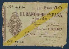 Billete de BANCO ESPAÑA - 50 PESETAS Pick Nº S.574 de 5-11-1936 en B Nº 044330