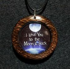 I Love you to the Moon and Back Pendant in Burnt Oak, friendship moon jewelry