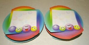 2 Rainbow Swirl Note Pads Smiley Faces flaws