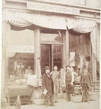 CDV Photo 1880's City Store Front Rutherford & Co General Store Old Antique