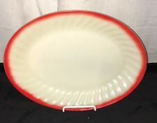 "Fire King SWIRL* SUNRISE* IVORY w/RED TRIM* 12"" OVAL PLATTER*"