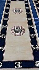 ANTIQUE CHINESE SCULPTED WITHSYMBOLS HAND MADE WOOL RUNNERS RUG # 2 , 3'x9'