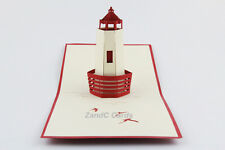 Beacon Lighthouse 3D Pop Up Greeting Handmade Kirigami Cards All Occasion