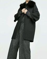 ZARA WOMAN GRAY CAPE COAT JACKET BLAZER WITH FUR COLLAR SIZE LARGE L NEW