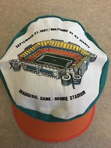 VINTAGE HAT MIAMI DOLPHINS JOE ROBBIE STADIUM 9/27/87 MAB PAINTS INAUGURAL GAME