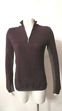 Tommy Hilfiger Spell Out Womens Sweater Pullover Top XS Quarter Zip Purple Gray