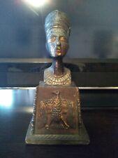 Vintage Egyptian Nefertiti Metal Bust On Base . Bookend. Statue.